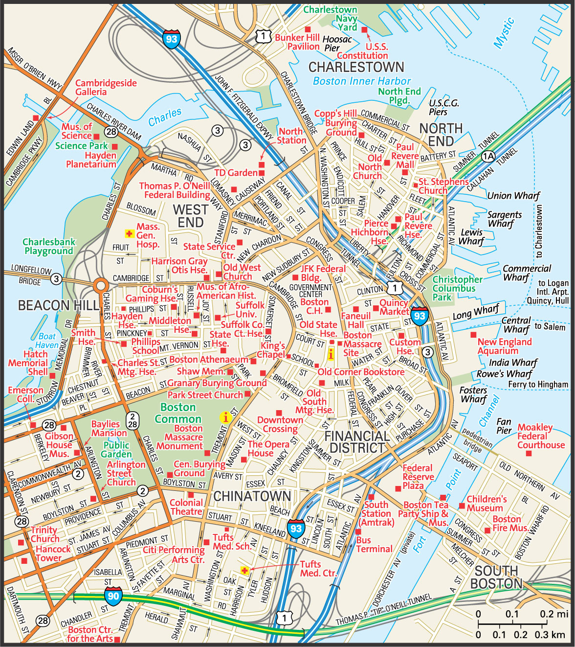 Boston Map  Guide To Boston Massachusetts